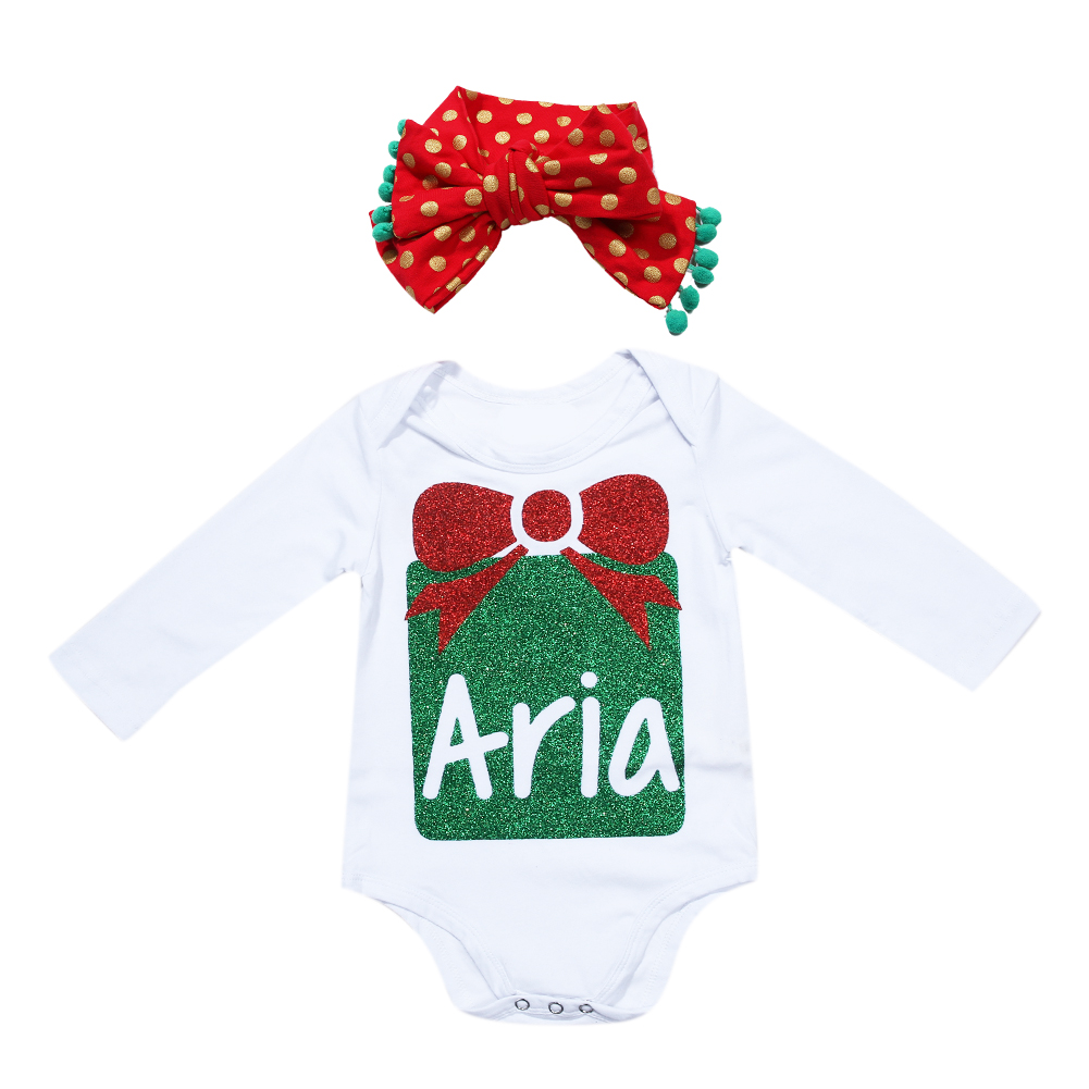 Baby Clothes Christmas Presents Baby Jumpsuit One-piece Suits Newborn Clothes Long Sleeve Clothes Set + Headband Hot Sale