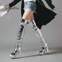 Women Sexy Silver Sequined Cloth Chunky High Heel Over Ther Knee Fashion Side Zip Platform Winter