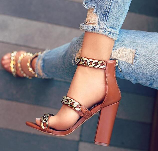 Fashion Brown Leather Women Gold Chain Strap Sandals Sexy Open Toe Ladies Summer Hot Chunky Heel Sandals Rome Style summer new fashion cross tied lace up straps women black leather sandals sexy open toe zipper back chunky heel sandals