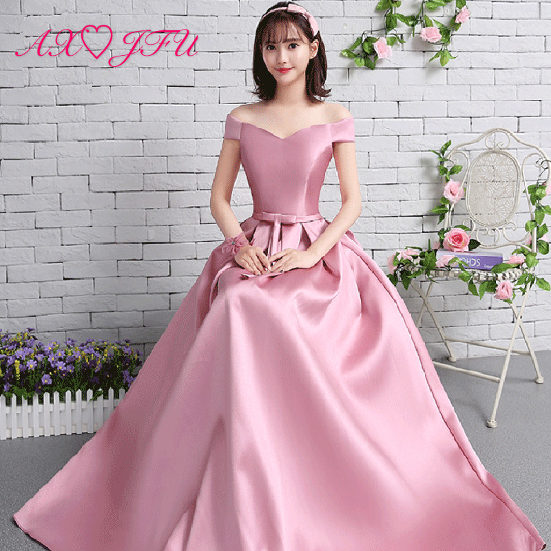 AXJFU pink bow evening dresses new style spring Satin pink boat neck evening dress long princess