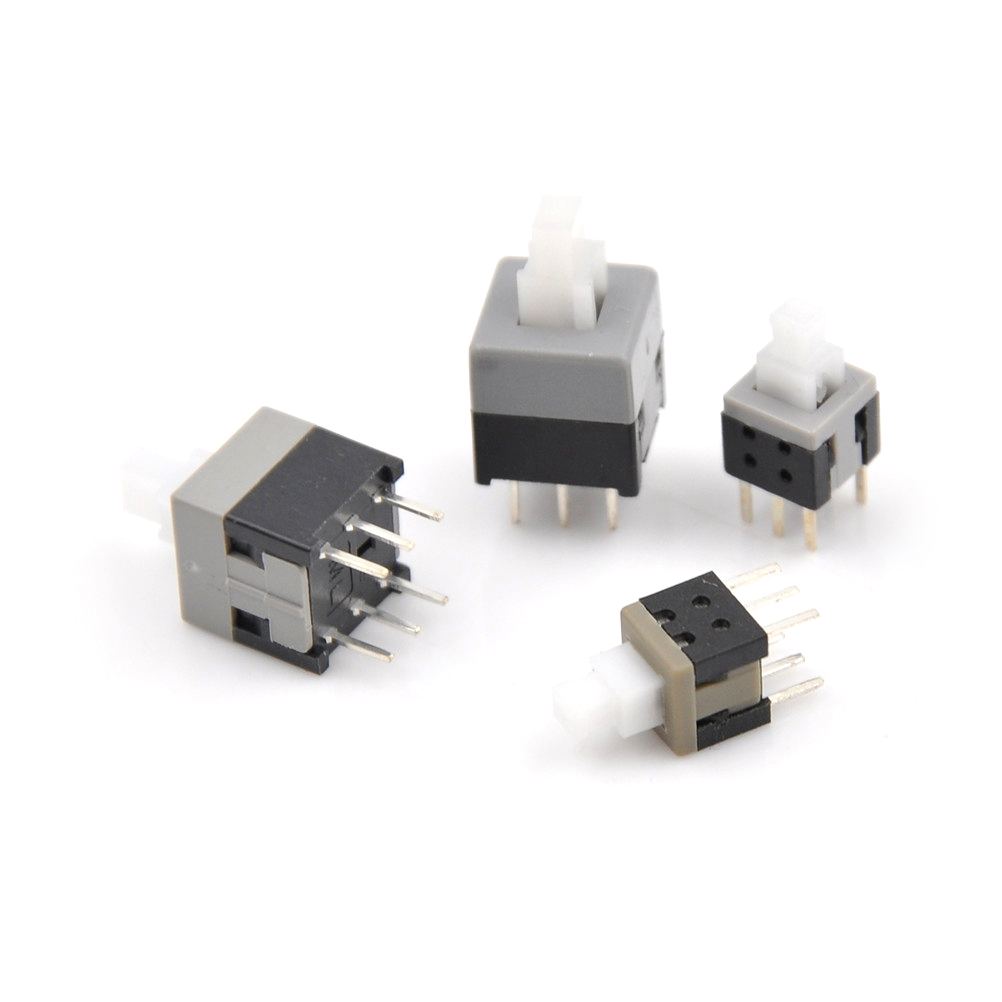 10pcs 7x7mm 6 Pin Dip Self-lock On/off Lock Push Switch Power Switch Key Button Switch Active Components Integrated Circuits