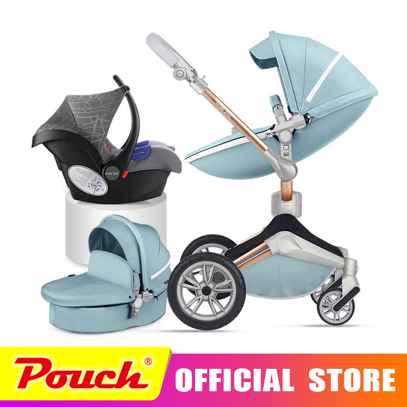 Hot mother 2018 new stroller high landscape can sit or lie on pneumatic wheel portable baby carts baby stroller Free shipping aoxin new children s karting four wheel exercise can sit baby pneumatic tires exercise bike
