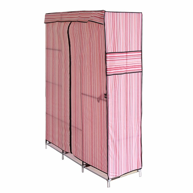 Bon Blue Simple Design 68 Inch +70 Inch Folding Closet Wardrobe Clothes  Stainless Rack Organizer Storage