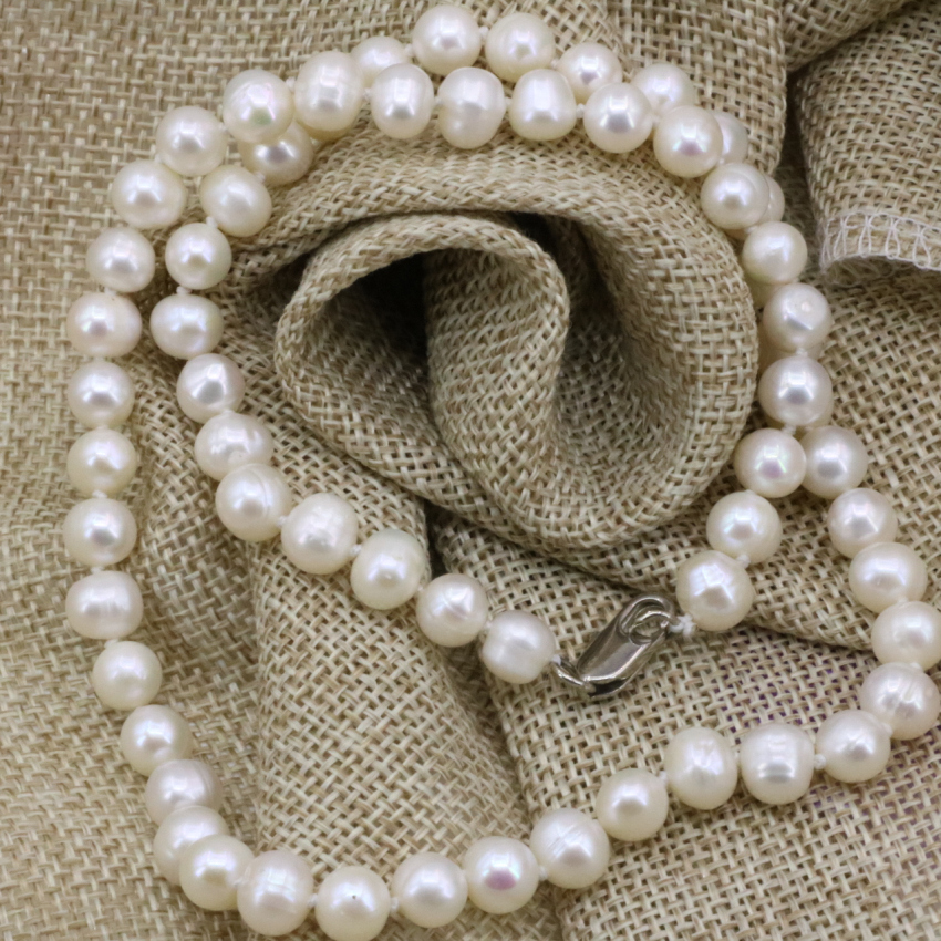 134e7bb8b852a ₩7-8mm blanc naturel culture d'eau douce perle nearround perles ...