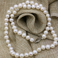 7-8mm natural white freshwater cultured pearl nearround beads necklace chain women party prom gifts charms jewelry 18inch B3225