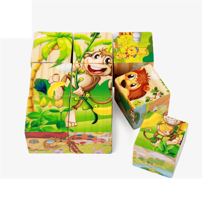 Wooden Blocks with pictures for kid Childrens educational toys Jigsaw puzzle wooden gifts baby shipping from Russia
