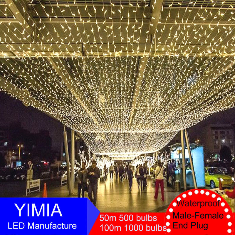 50m 100m US 110V LED String Fairy Lights New Year Christmas Holiday lights Outdoor Garlands Guirlande Garden Wedding Decorations string lights 800leds 100m outdoor fairy led strip light for christmas garden home holiday decorations with controller
