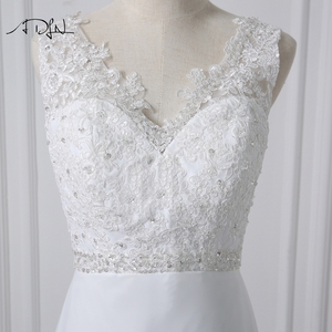 Image 5 - ADLN Stock Chiffon Beach Wedding Dresses White/Ivory Boho Bridal Gown Vestidos de Novia V neck Beaded Plus Size Bride Dress
