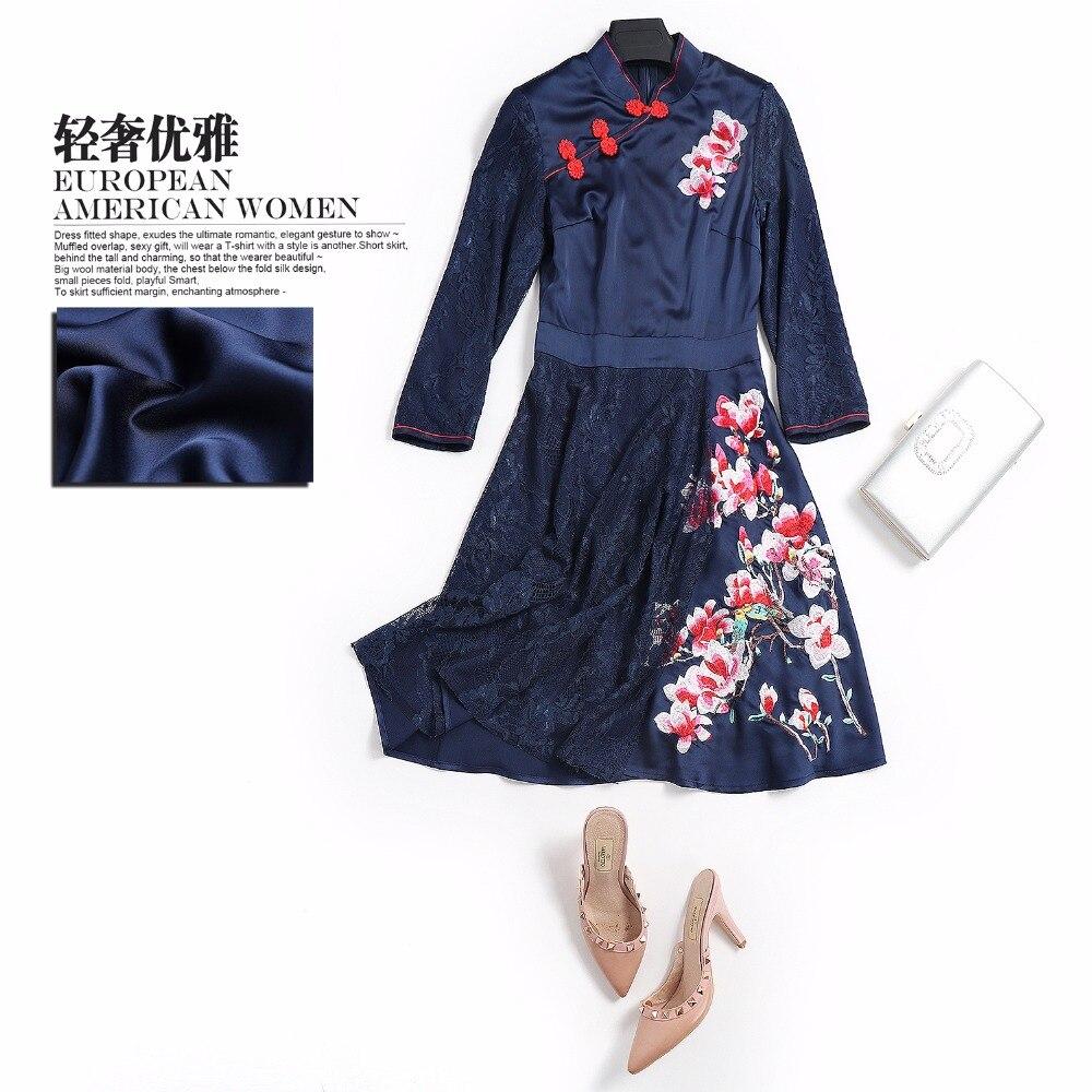 Broderie Foncé Femme Haute Fleur Bleu Robe De Automne Qualité Chinois pao Printemps Patchwork Bal Dentelle Style Chi wI7qgZxx5