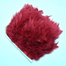 2Meter/lot Plume Wine Red Turkey Feathers Trims for Needlework Clothing Party Decorative 10-15cm DIY Natural Crafts