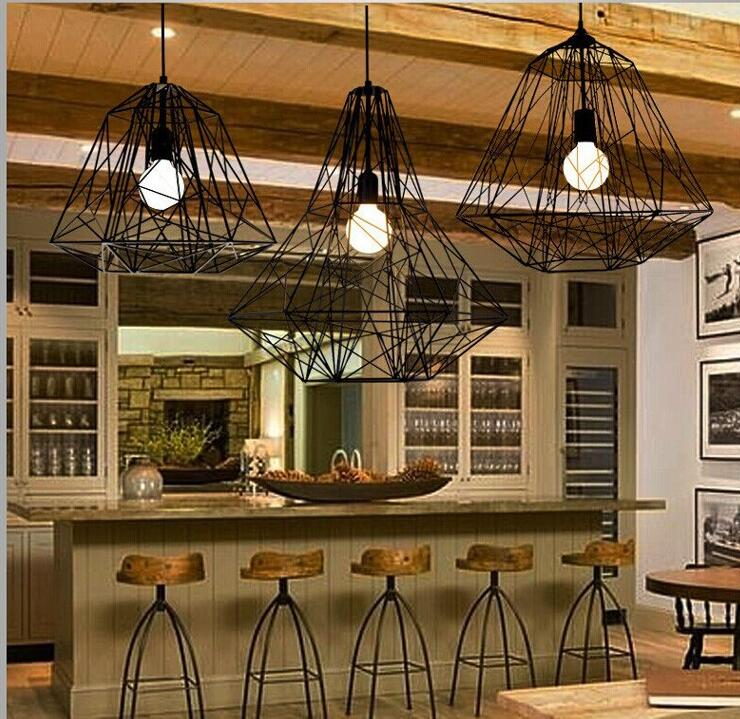 ФОТО LED  American Restoring Ancient Diamond Wrought Iron Cage Nordic Single-head Restaurant Industry Pendant Lights