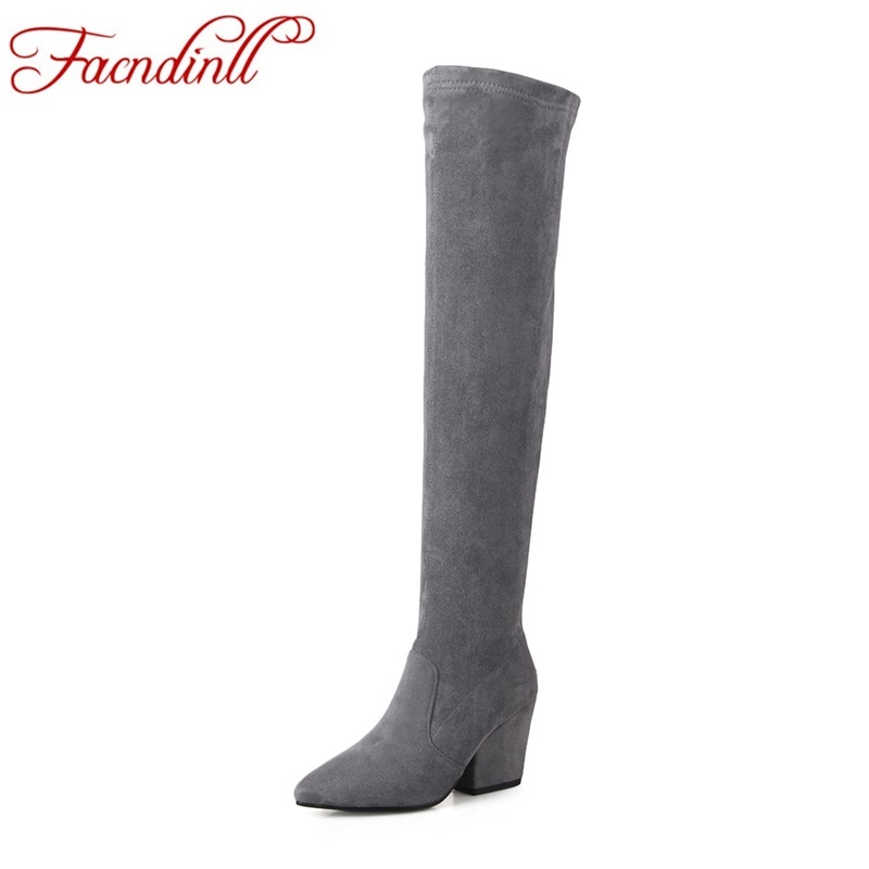 FACNDINLL women autumn winter boots new sexy high heels pointed toe black red high quality over the knee high boots women shoes  new arrival high quality over the knee women boots sexy pointed toe shoes stiletto high heels blue denim jeans women boots