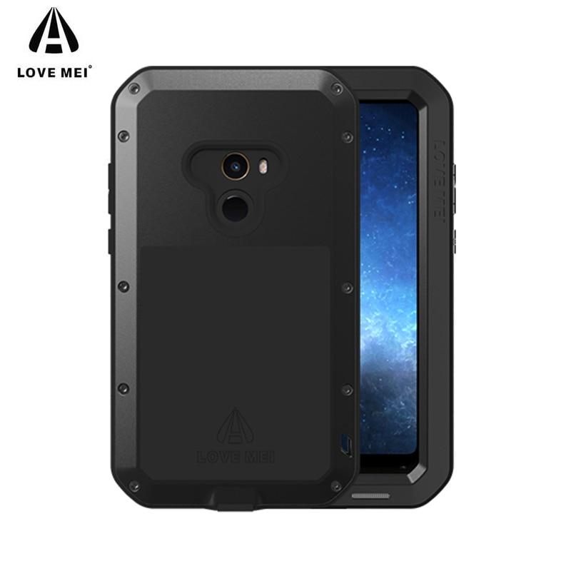 LOVE MEI Aluminum Metal Case on for Xiaomi Mi MIX 2 Case Life Waterproof Glass Cover Fundas Xiomi MIX 2 MIX2 Shell Men Women
