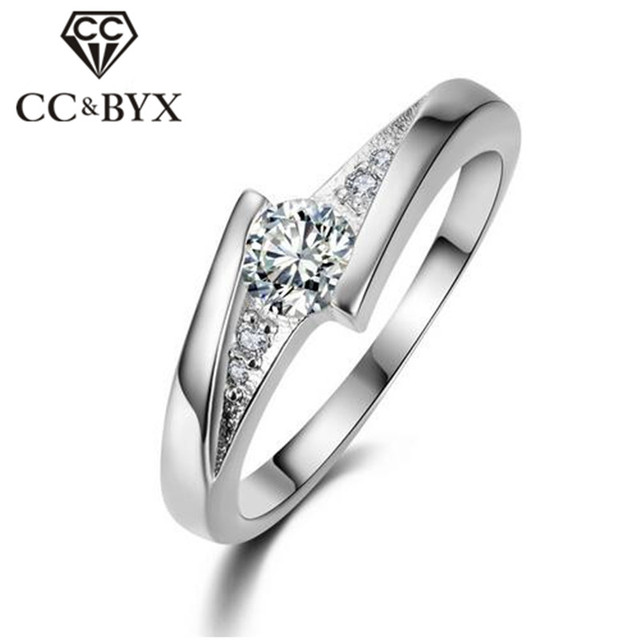 White Gold Color Engagement Wedding Rings For Women Cubic Zirconia Sterling Silver Ring Anel Feminino Bague Birthday Gift CC005