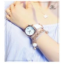 time clock Wrist watch Quality Authentic Fashion Brand GUOU  Women Waterproof  Square Quartz Women Wristwatches Free Shipping
