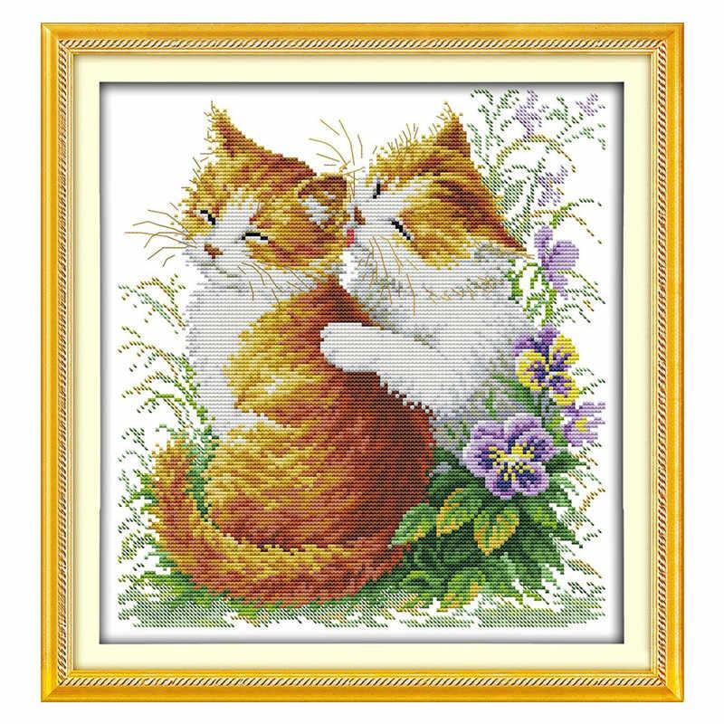 Rodzaje kotów zestaw do haftu DMC robótki haft zestaw do haftu DIY handwork Fabric 14CT i 11CT chińczycy wzór zestawy