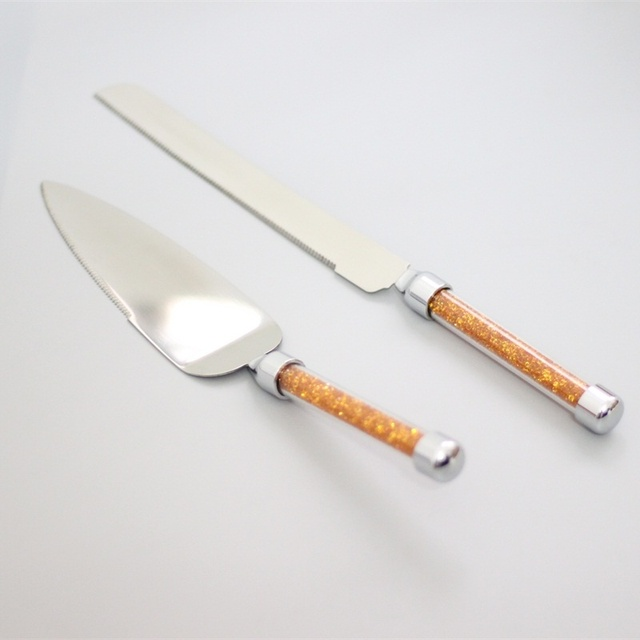 Stainless Steel 18 8 Wedding Cake Knife And Server Set With Gold Handle Gift Box
