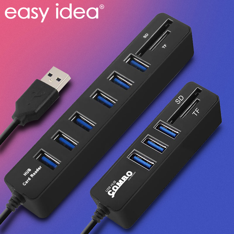 USB Hub 3 / 6 Ports USB 3.0 Hub High Speed Multi USB Splitter 2 In 1 2.0 Hab Multiple Usb3.0 Hub SD/TF Card Reader For PC Laptop