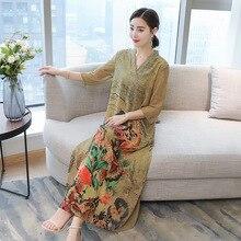 fe4993750c Nowy Kobiety Silk Szyfonu Retro Suknie Jesień Paw Floral Print Casual Luźne Chiński  Styl Lady V Neck Vestidos Duży Rozmiar s-4XL