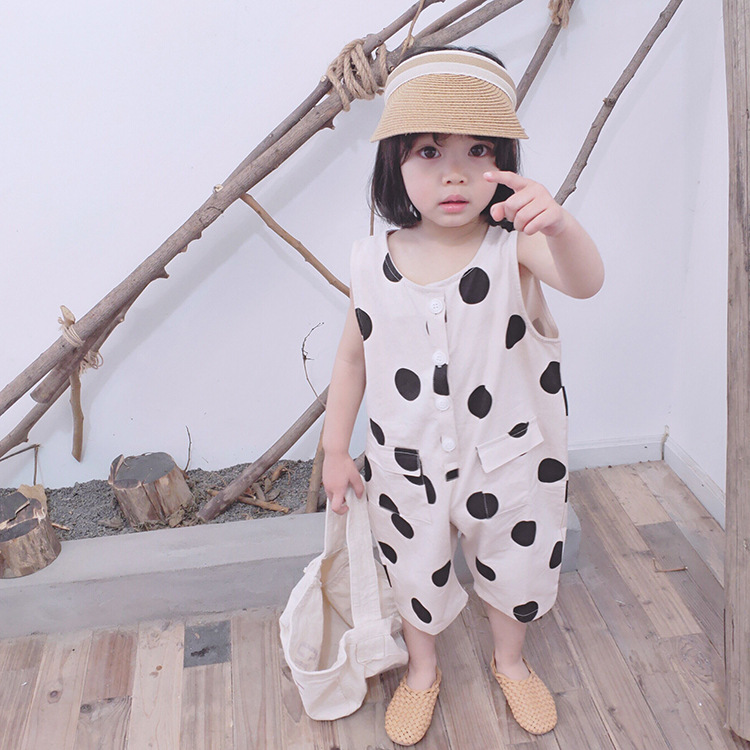 SUMMER BABY GIRLS JUMPSUITS SHORT KIDS OVERALLS WITHOUT SLEEVES POLKA DOTS TODDLER KIDS CLOTHES GIRLS OUTFITS