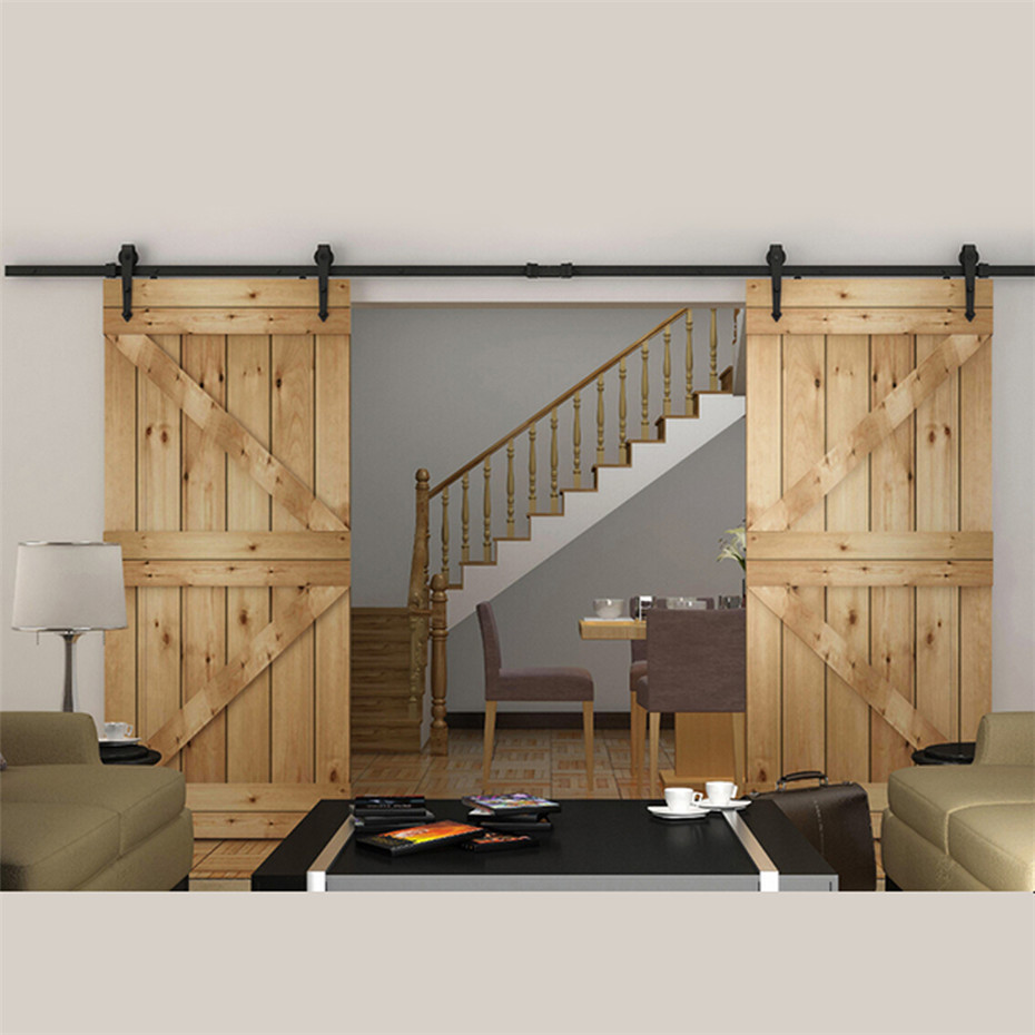 10 To 16 Ft European Style Steel Top Mounted Double Head Twin Roller Sliding  Barn Wood Door Hardware Barn Door Sliding Track
