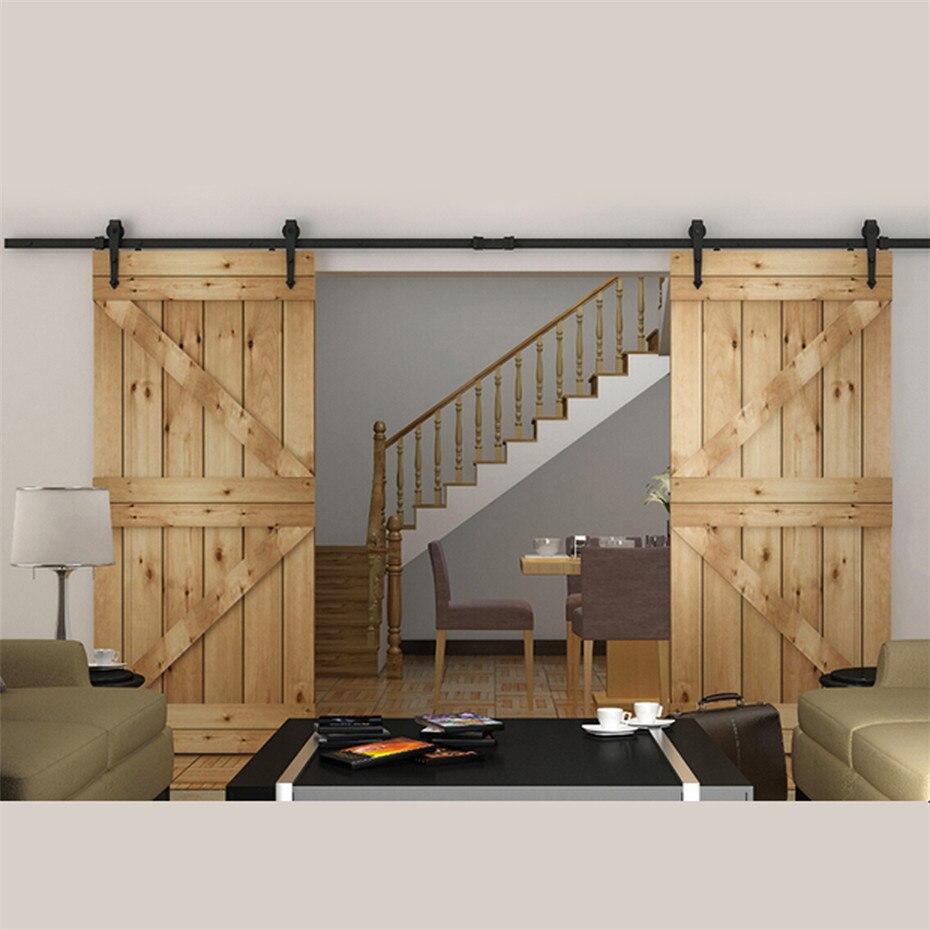 Wood sliding barn doors - 7 5 To 16 Ft European Style Steel Top Mounted Double Head Twin Roller Sliding Barn Wood