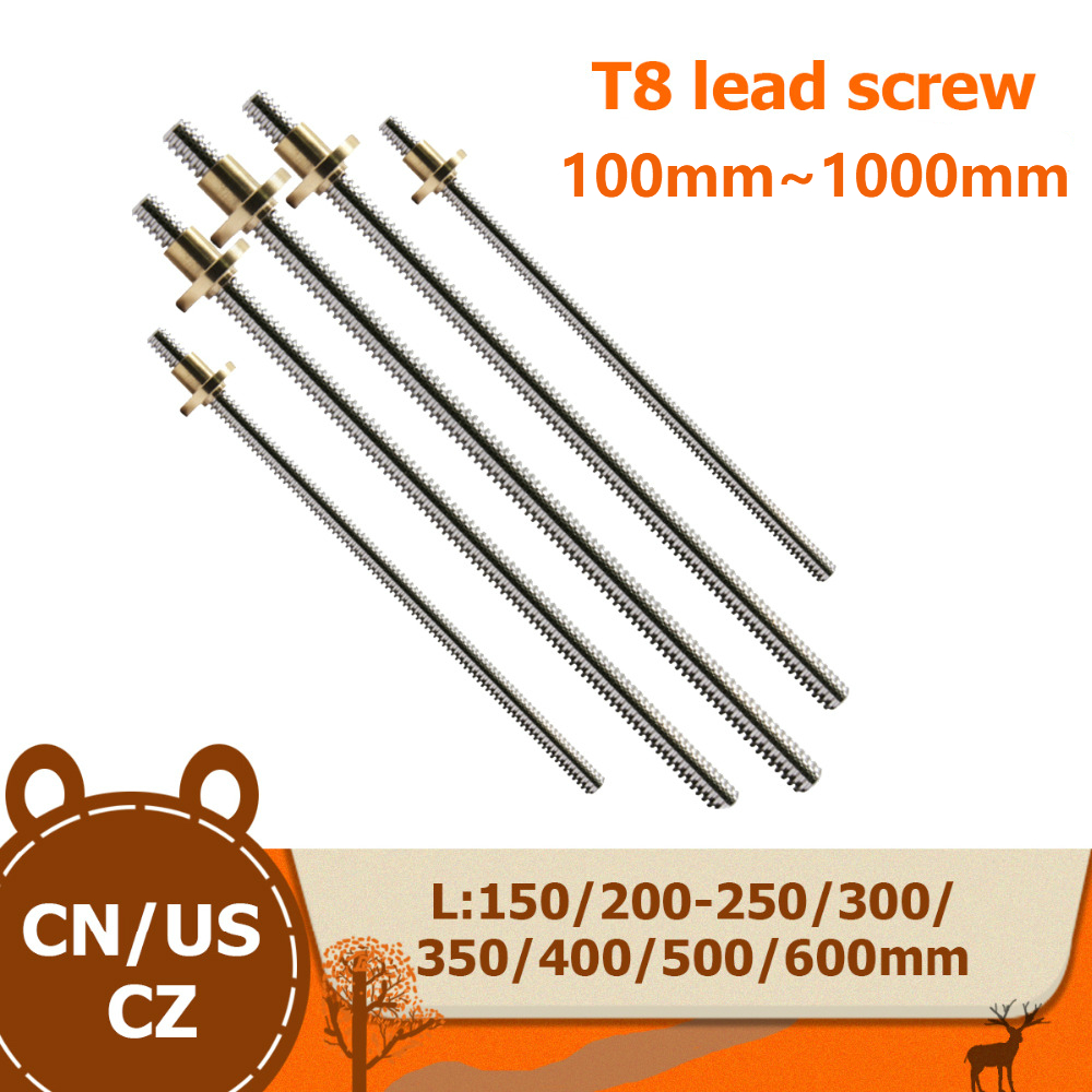 T8 Lead Screw OD 8mm Pitch 2mm Lead 8mm 100mm 200mm 300mm 350mm 400mm <font><b>500mm</b></font> 600 mm with Brass Nut for Reprap <font><b>3D</b></font> <font><b>Printer</b></font> image