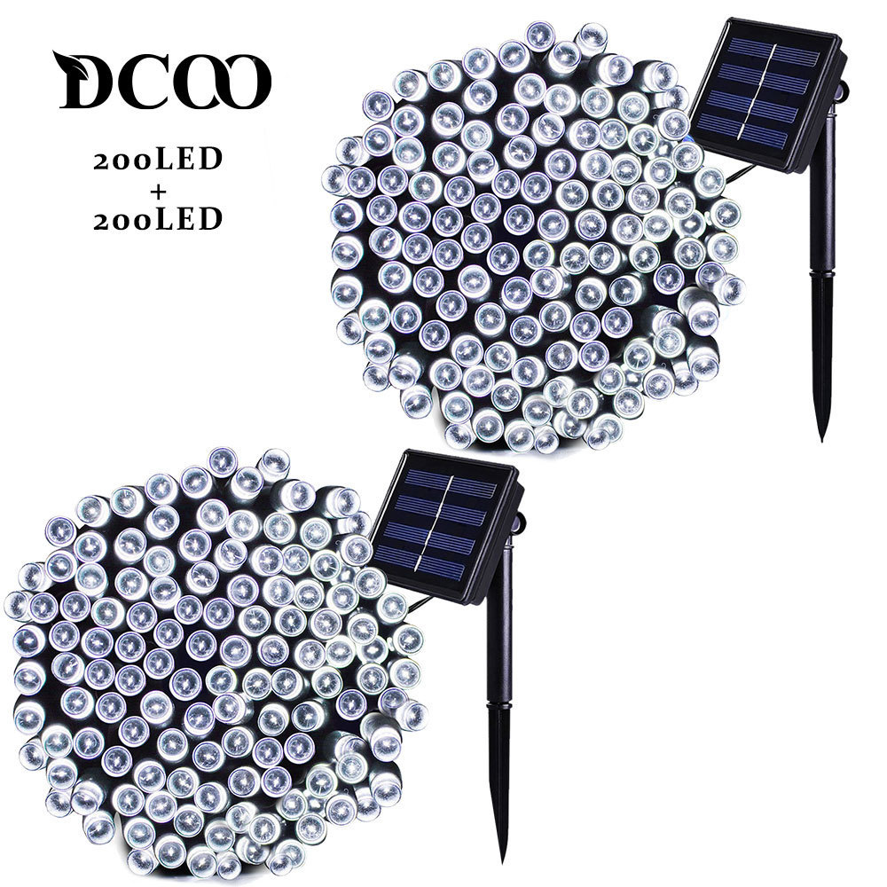 Dcoo 2 stykker Solar Powered LED String Lights 8 Moduser 72ft 22m 200 LEDs Utendørs Vanntett Christmas String Party Lights Outdoor