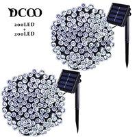 Dcoo 2 Pieces Solar Powered LED String Lights 8 Modes 72ft 22m 200 LEDs Outdoor Waterproof Christmas String Party Lights Outdoor
