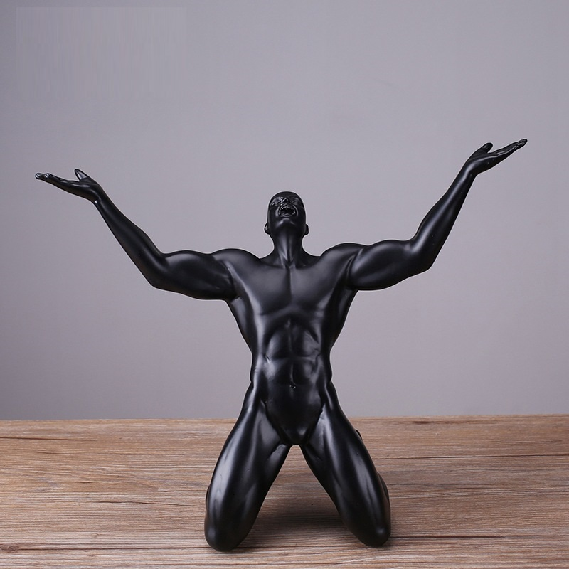 Modern Athlete Resin Statue Men Sculptures Abstract Carving Man Statue Home Decoration Accessories R1146