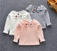 Nueva Niñas Tops niños Camisetas manga larga niños mariposa Collor camisetas algodón ropa de recién nacido del bebé que basa la camisa