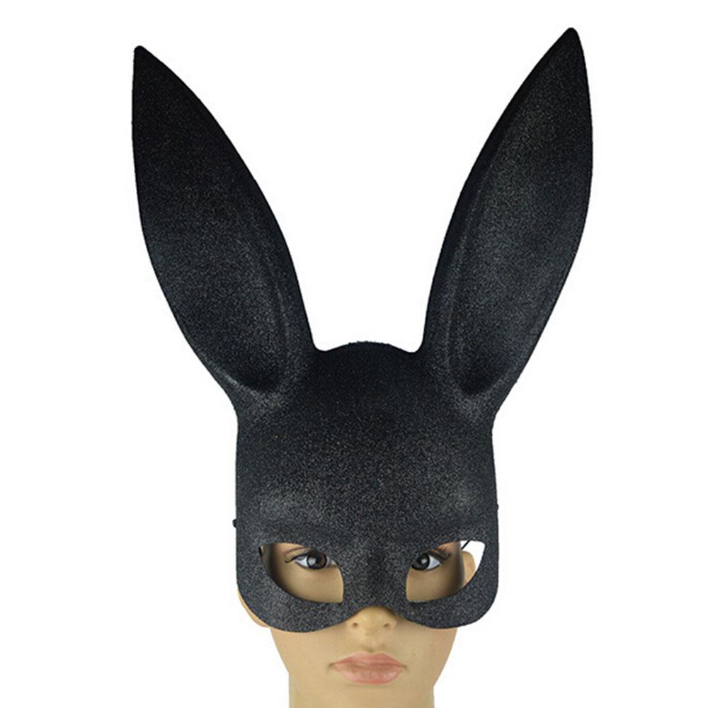 Маска для косплея на Хэллоуин с кроличьими ушками, нарядное платье, приколы - Цвет: Black