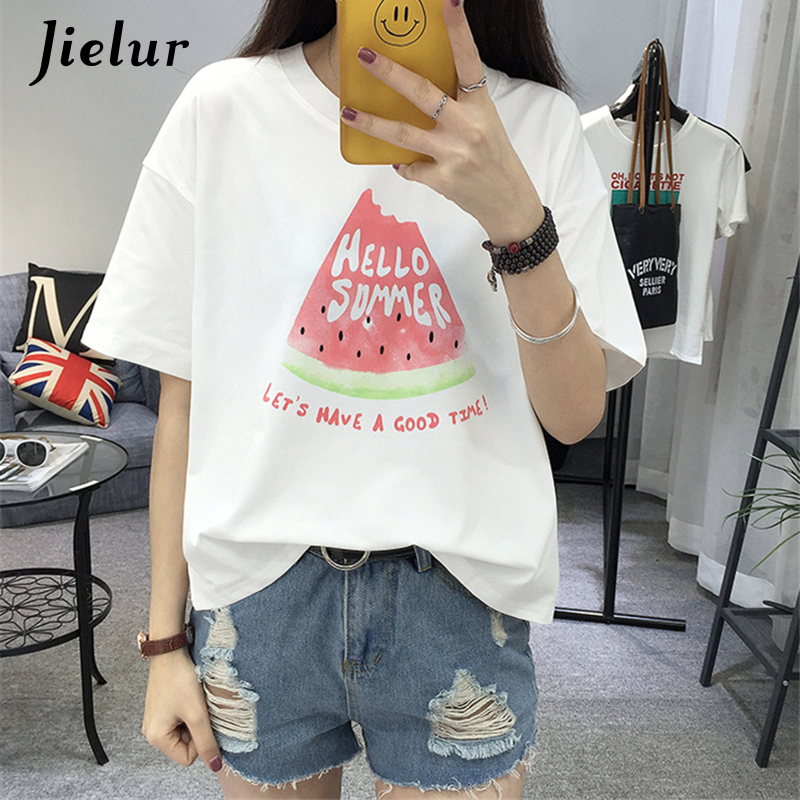 Summer New Fashion Simple Short Sleeve White T shirt Female Cute Watermelon Printed Letters Top Loose