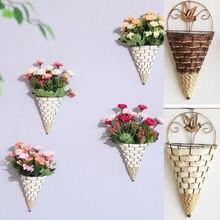 Натуральная плетеная корзина для цветов, настенный горшок для растений, ваза из ротанга, коробки, корзина, Декор для дома, садоводство, Декор