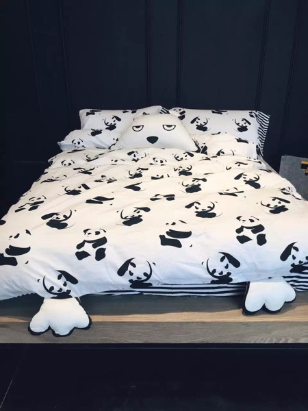 Hotsale 100 Cotton Black And White 4pcs Bedding Set Panda
