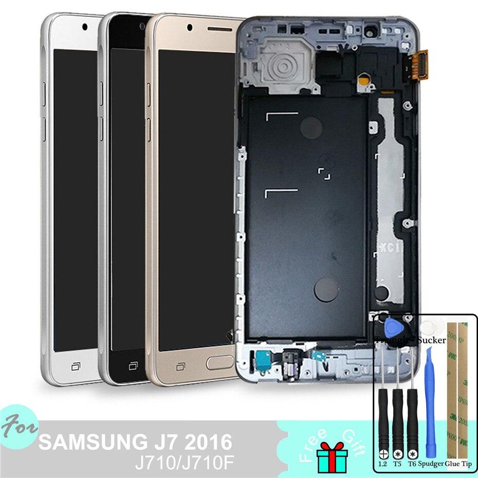 TFT LCD Para Samsung Galaxy J7 2016 J710 J710FN J710F J710M J710Y J710G J710H Tela de Toque Digitador Assembléia Quadro Casa botão