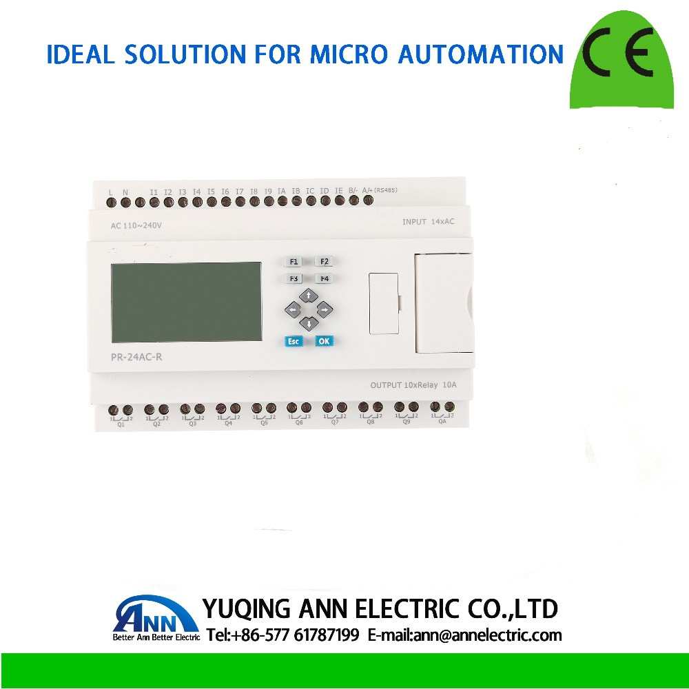 PR 24AC R с ЖК дисплеем, без кабеля программируемый логический контроллер, AC 110 ~ 240 В, 14 DI, 10 реле (10A) выход, микроконтроллер PLC