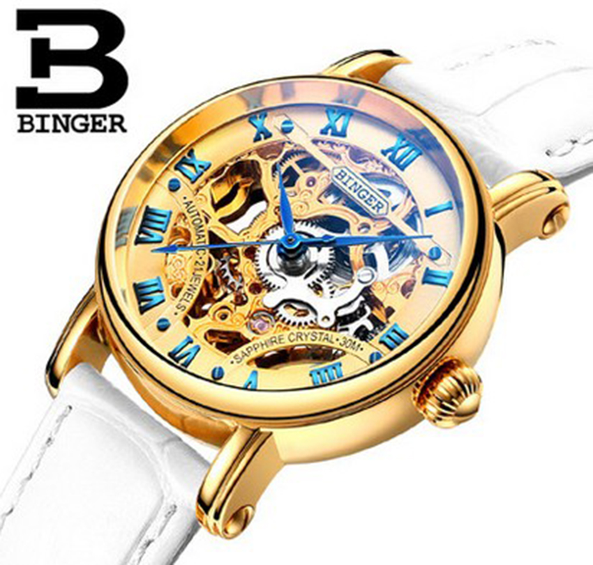 Genuine Swiss BINGER Brand Men automatic mechanical self-wind full steel double-sided hollow waterproof male fashion watch jam tangan pria gold original