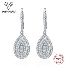 Viennois Fashion 925 Silver Rhinestone Dangle Earrings for Women Zircon Drop Earrings Jewelry u 001 viennois fashion women elegant silver bracelet