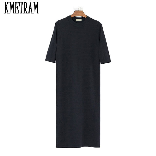 Black Plus Size Long Summer Dress Elastic Knitted Short Sleeve Loose Vestido  Side Fork Casual Womens Clothing JCY050 9756c5171845