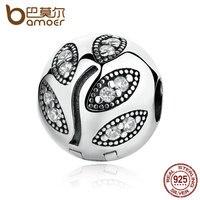 BAMOER 925 Sterling Silver Wonderful LEAVES CLIP Charms Fit Women DIY Bracelets Fine Jewelry PAS351