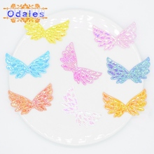 120Pcs AB White Angel Wings Patches Shiny Scrapbooking Accessories for Kid DIY Appliques and Baby Headwear Accessories