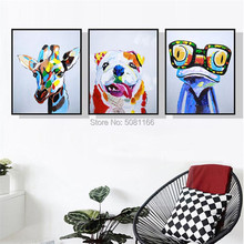 hand painted colored animal oil painting deer dog frog canvas pop art picture modern animal paintings for living room decoration цена