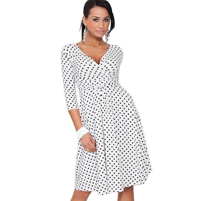 adca73eb1cd9 Women Dresses Hot Sale Celeb Dot V-neck Loose Causal Dresses Size S M L XL  XXL XXXL Wholesale Free Shipping