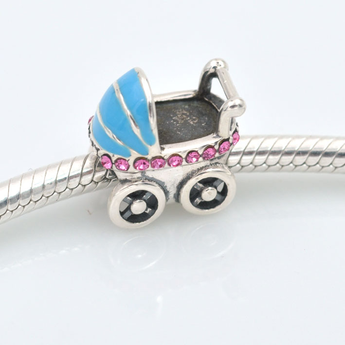 Solid 925 Sterling Silver Baby Carriage Charm Blue Enamel