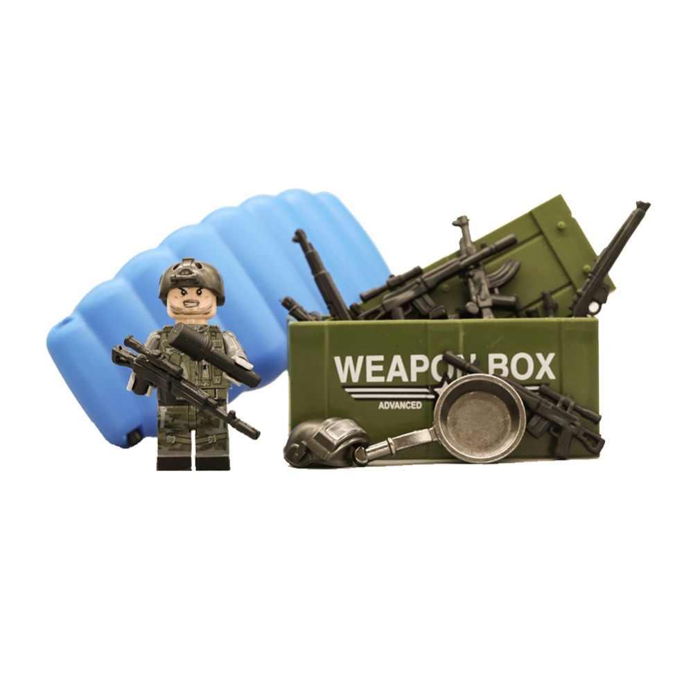 Военная Униформа LEGO, pubg swat оружия стежка Набор Мини ww2 солдаты цифры стежка пушки строительные блоки кубики Moc сшитые игрушки для детей