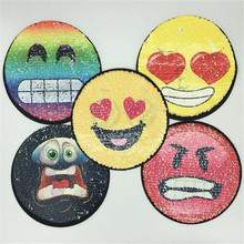 Reversible change color sequins patch deal with it clothes 21cm sweet smile  face patches for clothing f3f7a9af63f4
