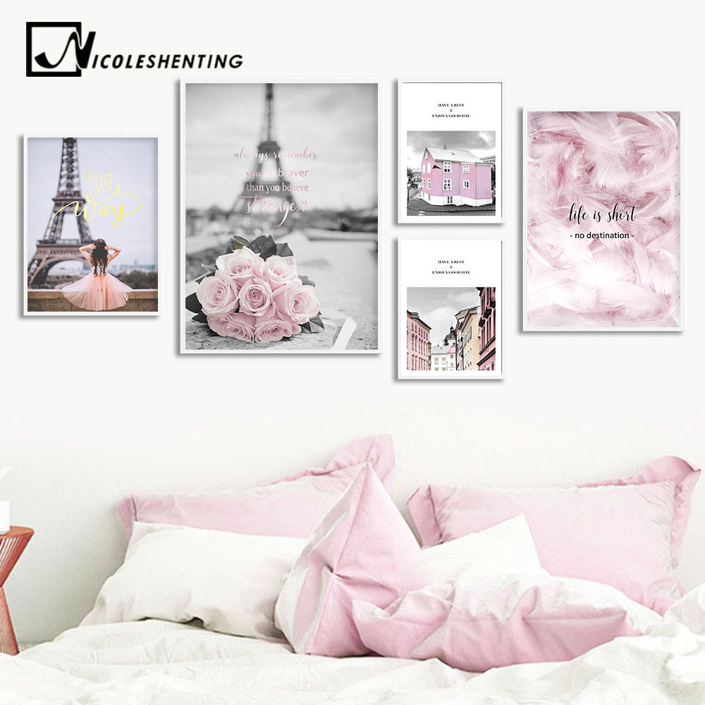 Eiffel Tower Girl Wall Art Canvas Fashion Poster Pink City Landscape Print Painting Nordic Decoration Picture Living Room Decor(China)