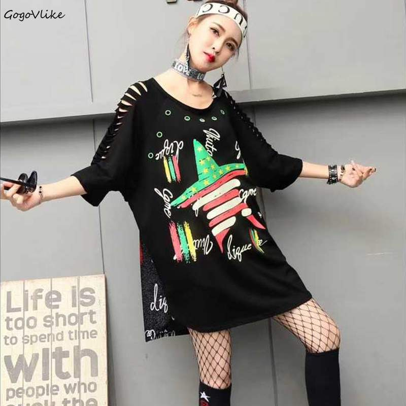Irregular Top Tees Graffiti Print Wome punk rock loose t Shirt vintge long Holes Eyelet t shirt hiphop tees Big Size LT202S30