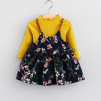 Dresses Girl Toddler Lovely Floral Print Girls Dresses Long Sleeve Tops Baby Girl Clothes 2Pcs Princess